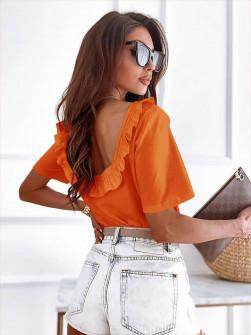 Γυναικεία εξώπλατη μπλούζα 57422 πορτοκαλί