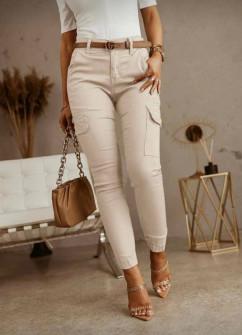 Γυναικείο παντελόνι με τσέπες 5599 μπεζ