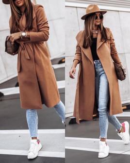 Γυναικείο μακρύ παλτό 3821 καμηλό
