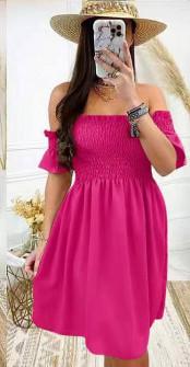 Γυναικείο φόρεμα με σφηκοφωλιά 5727 φούξια