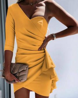 Γυναικείο φόρεμα με ένα μανίκι 3730 κίτρινο