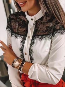 Γυναικείο πουκάμισο με δαντέλα 1872 άσπρο