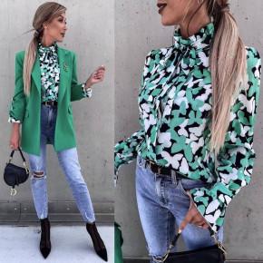 Γυναικείο πουκάμισο με print 55938 πράσινο