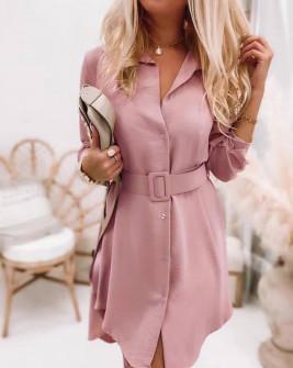 Γυναικείο φόρεμα με ζώνη 5961 ροζ