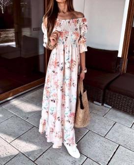 Γυναικείο μακρύ φόρεμα 21613 άσπρο