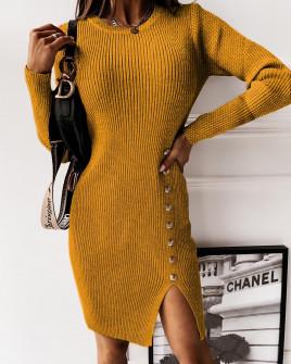 Εντυπωσιακό φόρεμα 2655 μουσταρδί