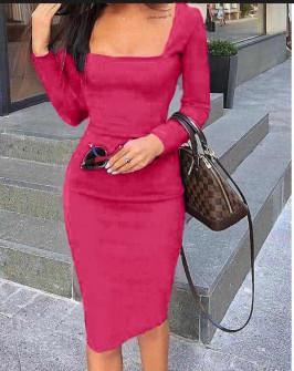 Φόρεμα με τετράγωνο ντεκολτέ 3450 φούξια