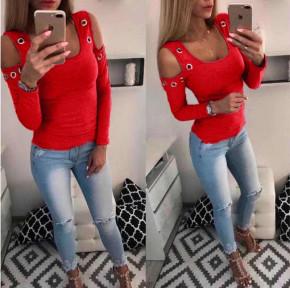 Γυναικεία έξωμη μπλούζα με τρούκς 2040 κόκκινο