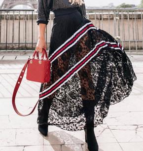 Γυναικεία φούστα με δαντέλα και εντυπωσιακά σχέδια 55560