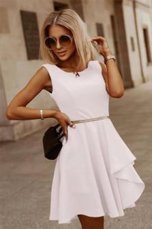 Γυναικείο φόρεμα με ζώνη 5859 άσπρο