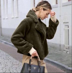 Γυναικείο γούνινο κοντό παλτό 2023 καφέ