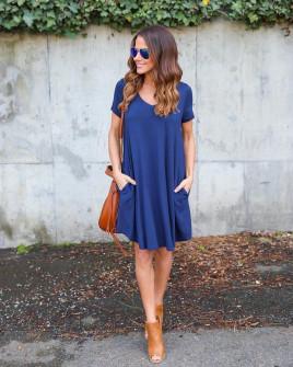Дамска свободна рокля 13520 синя