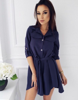 Γυναικείο χαλαρό φόρεμα με ζώνη 2973 σκούρο μπλε