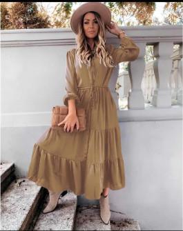 Γυναικείο μακρύ φόρεμα με κουμπιά 5337 καμηλό