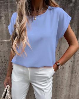 Γυναικεία απλή μπλούζα 6261 γαλάζια