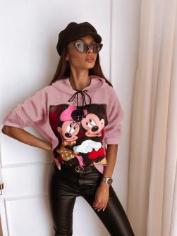 Γυναικεία χνουδωτή μπλούζα με στάμπα 13786 ροζ