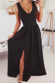 Γυναικείο μακρύ φόρεμα με σκίσιμο 1977 μαύρο