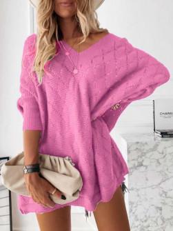 Γυναικείο πλεκτό μπλουζοφόρεμα 88017 ροζ