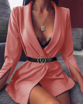 Γυναικείο σακάκι με σκίσιμο στο μανίκι 3994 κοραλί