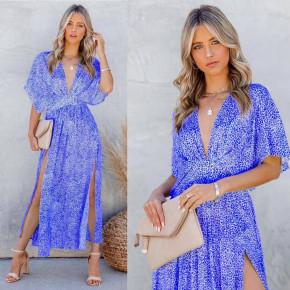 Γυναικείο φόρεμα με σκίσιμο 3340 μπλε