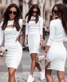 Γυναικείο εντυπωσιακό φόρεμα 4847 άσπρο