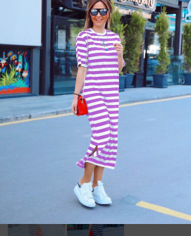 Γυναικείο μακρύ φόρεμα με κοντό μανίκι 5141 μωβ