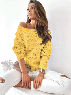Γυναικείο μονόχρωμο πουλόβερ 8022 κίτρινο