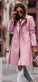 Γυναικείο διπλοκούμπωτο παλτό με φόδρα 6052 ροζ