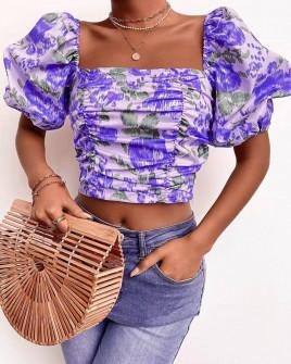 Γυναικεία μπλούζα με φουσκωτά μανίκια 3360 μωβ