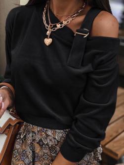 Εντυπωσιακή μπλούζα βελουτέ 5388 μαύρη