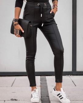Γυναικείο παντελόνι δερματίνης 3471 μαύρο