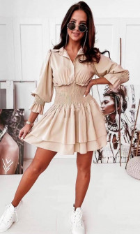 Γυναικείο φόρεμα με λάστιχο στη μέση 55671 μπεζ