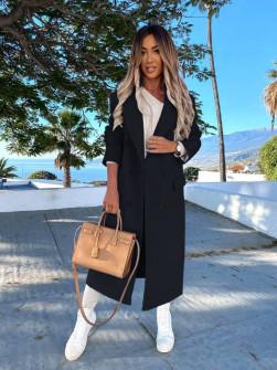 Γυναικείο μακρύ παλτό με φόδρα 5893 μαύρο