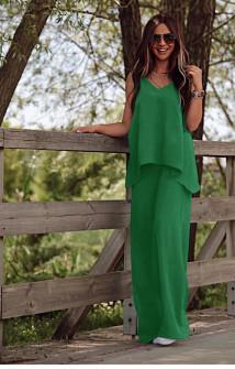 Γυναικείο χαλαρό σετ τοπάκι και παντελόνι 5154 πράσινο