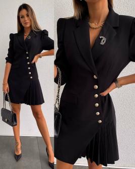 Γυναικείο μοντέρνο φόρεμα με κουμπιά μαύρο