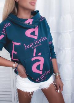 Γυναικείο φούτερ με κουκούλα 4777 μαύρο