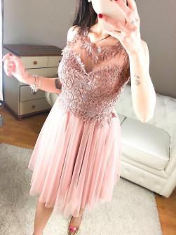 Γυναικείο φόρεμα με τούλι και δαντέλα 8523 ροζ