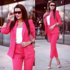 Γυναικείο σετ σακάκι και παντελόνι 3970 φούξια