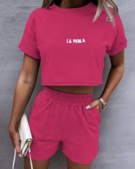 Γυναικείο αθλητικό σετ 8155 φούξια