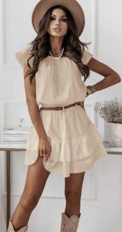 Γυναικείο φόρεμα με ζώνη 5736 μπεζ