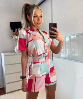 Γυναικεία πολύχρωμη ολόσωμη φόρμα με ζώνη 582703