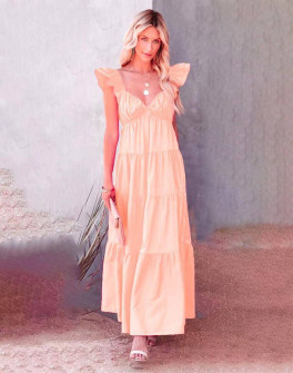Γυναικείο μακρύ φόρεμα 27786 ροζ