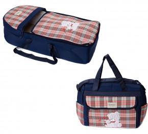 Σετ πορτ μπεμπέ και τσάντα 00454 σκούρο μπλε/κόκκινο