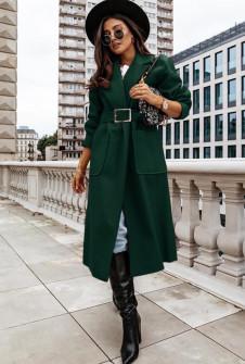 Γυναικείο μακρύ παλτό με ζώνη 8650 καμηλό