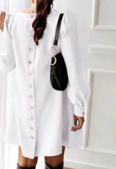 Γυναικείο φόρεμα με κουμπιά στην πλάτη 3977 άσπρο