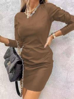 Γυναικείο φόρεμα δερματίνης 8802 καμηλό