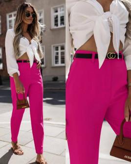 Γυναικείο παντελόνι με ζώνη 5887 φούξια