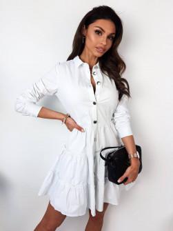 Γυναικείο φόρεμα με κουμπιά 21922 άσπρο