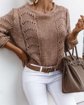 Γυναικείο εντυπωσιακό πουλόβερ 3324 καφέ