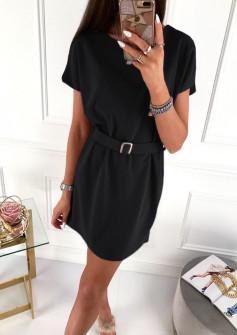Γυναικείο φόρεμα με ζώνη 5055 μαύρο